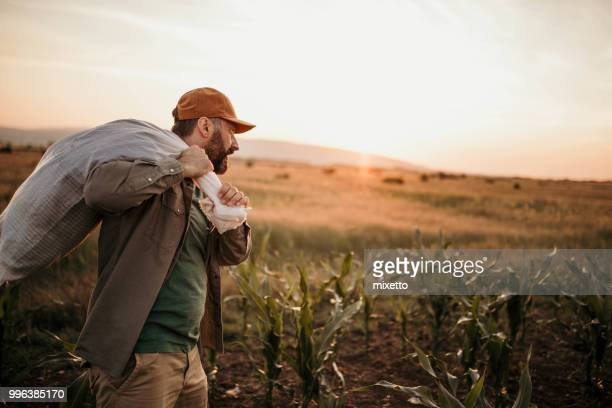 farmer with a sack on his back - effort stock pictures, royalty-free photos & images