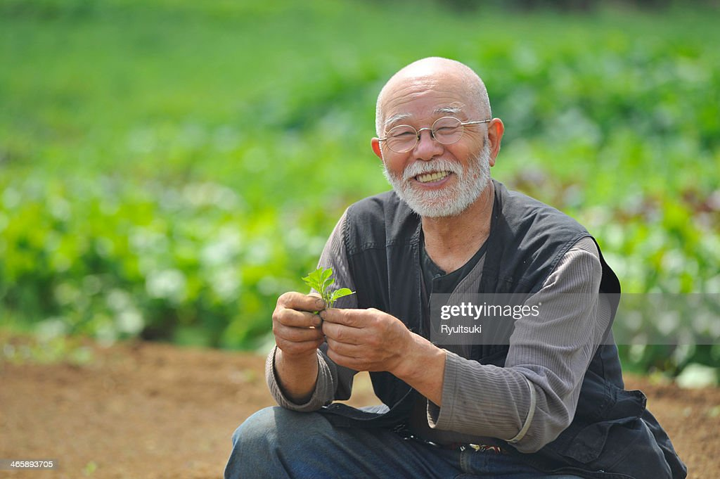 Farmer with leaf smiling at camera : Stock Photo