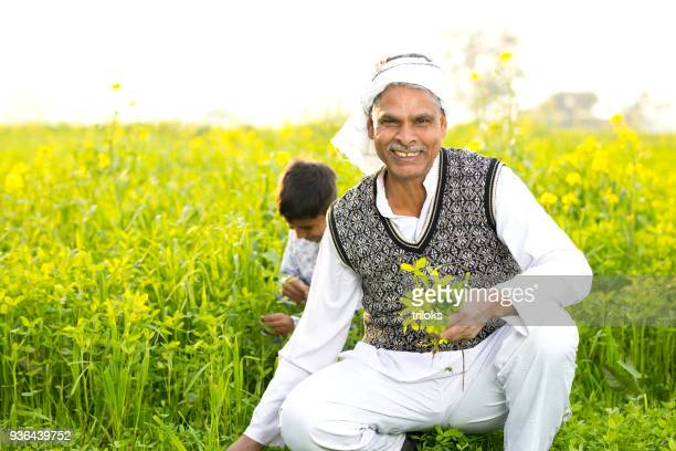 Farmer with son in agricultural field