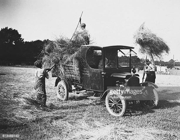 Farmer workers pitch hay onto a Model T Ford truck on farmland near Bedford in England | Location near Bedford England UK