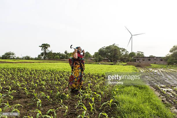 A farmer works in a field at a soyabean farm in Dewas Madhya Pradesh India on Monday July 4 2016 Farmers in Dewas district where water trains used to...
