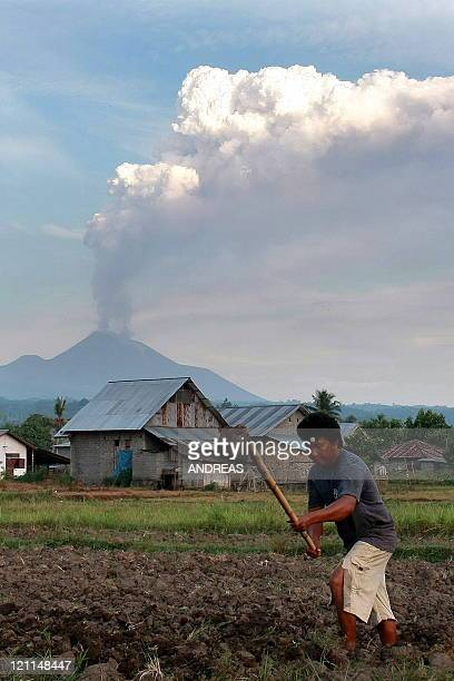 Farmer works in his field in Minahasa on Indonesia's Sulawesi Island on August 14 as Mount Soputan volcano spews volcanic ash. An Indonesian official...