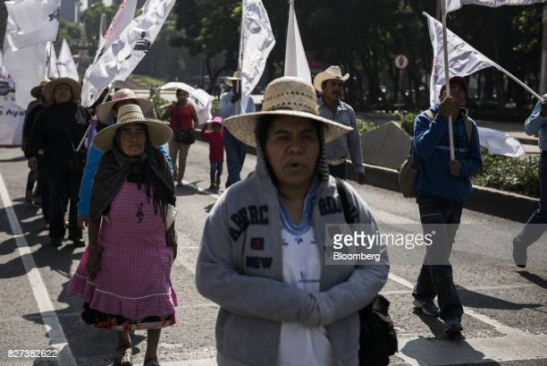 Farmers and supporters march during a protest against the North American Free Trade Agreement on the anniversary of the revolutionary leader Emiliano...