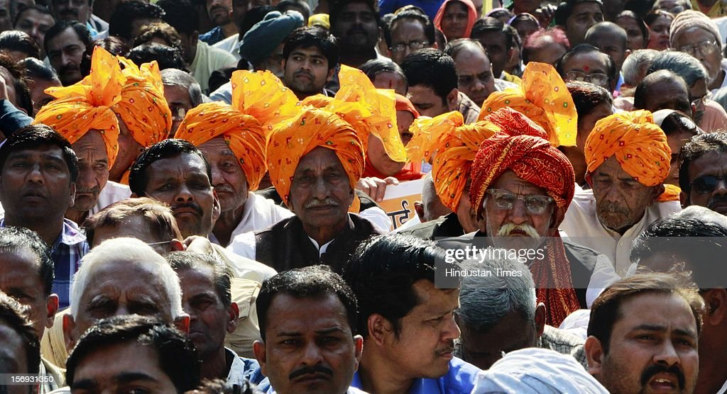 Farmers attend a rally by the opposition Bharatiya Janata Party (BJP) to protest against Foreign Direct Investment (FDI) on November 21, 2012 in New Delhi, India. The party has decided to oppose the government's decision to allow FDI in Multi-brand retail.