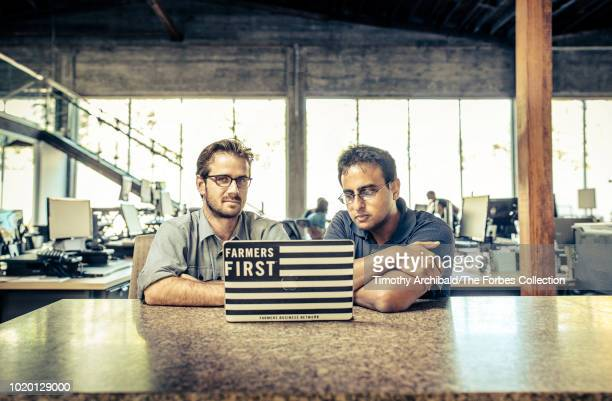 Farmers Business Network CEO Amol Deshpande and cofounder Charles Baron are photographed for Forbes Magazine on September 28 2017 in San Francisco...