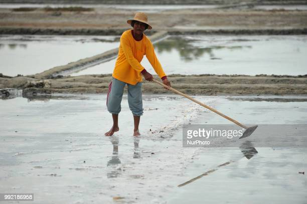 Farmers collect salt at one of the industrial salt centers in Mojowarno Village Rembang Central Java July 5 2018 The low productivity of the plant...