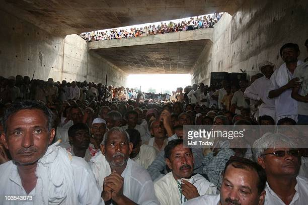 Farmers during a demonstration demanding higher compensation for their land acquired for development of Yamuna Expressway on August 17 2010 At Least...