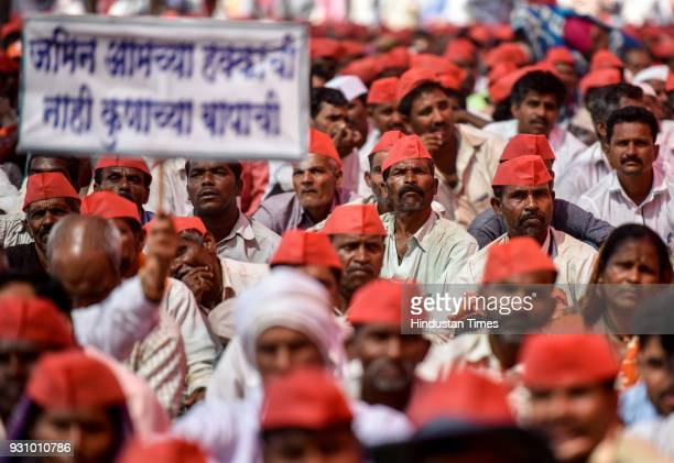Farmers during protest march at Azad maidan on March 12 2018 in Mumbai India Over 30000 farmers from across Maharashtra who embarked on a Long March...