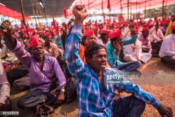 Farmers during their protest march at Azad Maidan on March 12 2018 in Mumbai India