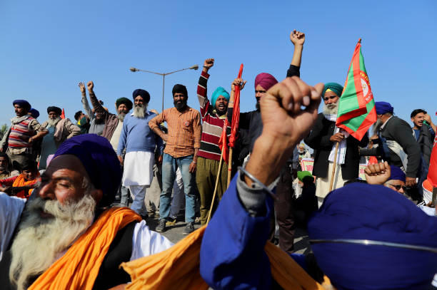 IND: Security at the Singhu Border as Thousands of Farmers March Toward New Delhi to Protest Farm Laws