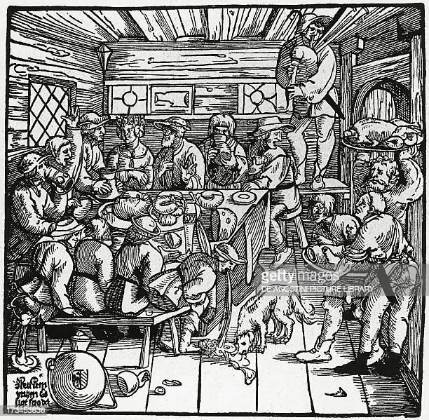 Farmers feast woodcut Germany 16th century