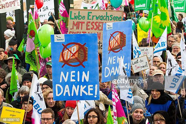 Farmers from across Germany march to protest against industrialized agriculture the TTIP trade agreement and geneticallymodified agriculture on...