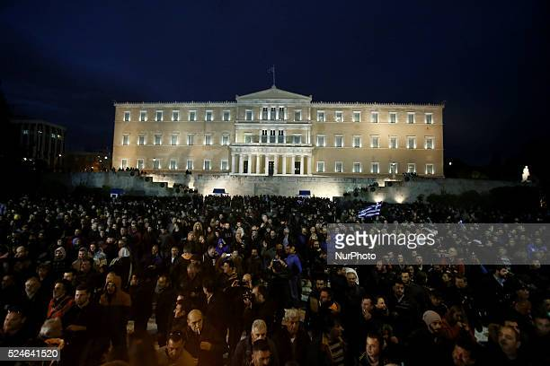 Farmers from across the country demonstrate outside the Greek parliament during a demonstration against taxation and the planned reform of the social...