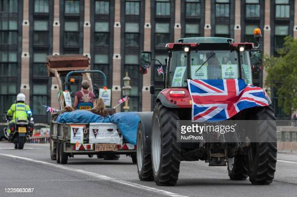 Farmers from across the country drive tractors, trucks and cars across central London in a protest against the Agriculture Bill on 08 July, 2020 in...