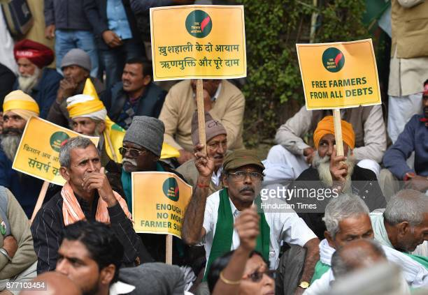 Farmers from across the country holding a demonstration in support of their various long pending demands at Jantar Mantar on November 21 2017 in New...