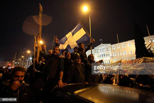 Farmers from all regions of Greece protest in Athens in front of the Greek parliament along with their tractors against government pension reform...