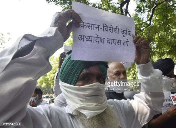 Farmers from Punjab and Haryana staging a protest at Jantar Mantar against against bills on food and agriculture reform, on September 16, 2020 in New...