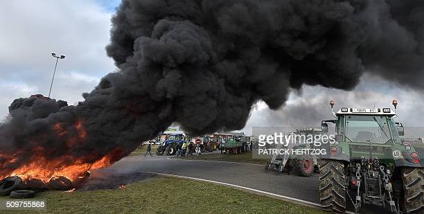 Farmers from the French farmers unions burn piles of tyres in Vendenheim eastern France on February 12 during a protest against increasing...