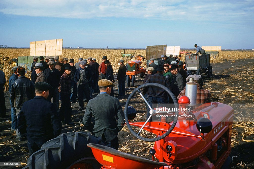 Farmers gather around during corn harvest time.