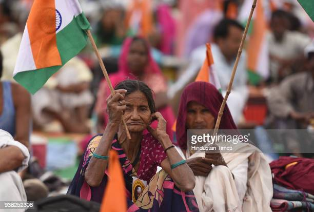 Farmers gather at the Ramlila Maiden during the third day of a hunger strike by social activist Anna Hazare against the central government for Lokpal...