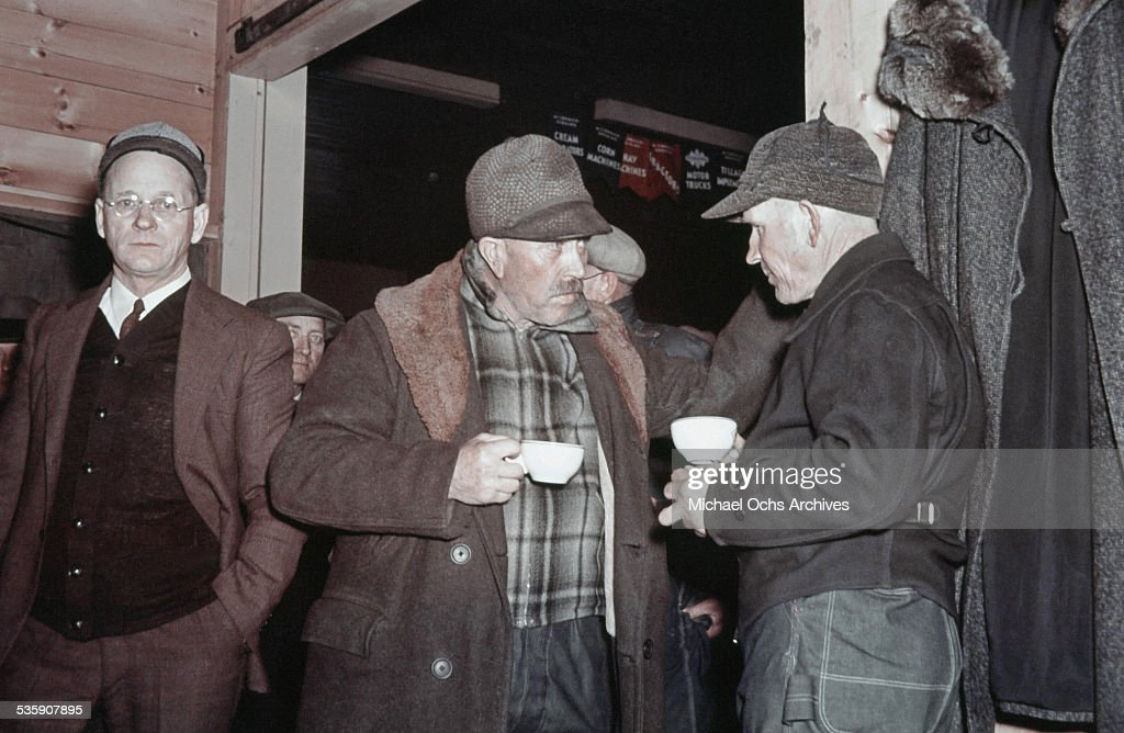 Farmers gather for coffee at the local coffee house in the winter in North Dakota.