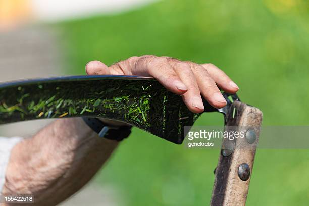 Farmer's hand hält eine Sense, Mähen Schweizer Alpen