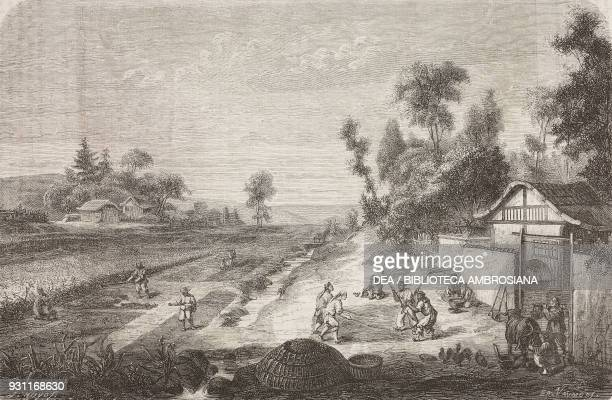 Farmers in a field agriculture China drawing by Edouard Vaumort from Journey from Shanghai to Moscow by A Possielgue from Il Giro del mondo Journal...