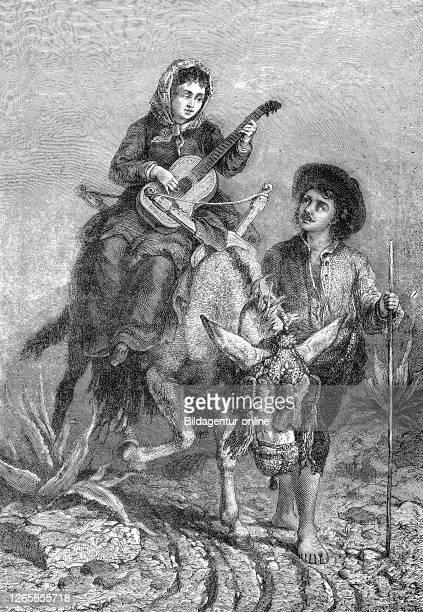 Farmers in Spain, she rides a donkey and plays the guitar / Bauern in Spanien, sie reitet auf einem Esel und spielt Gitarre, Reproduction of an...