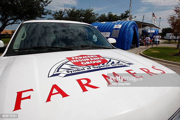 Farmer's Insurance agents have setup mobile claims centers to help process claims after damage from Hurricane Ike September 15 2008 in Pasadena Texas...