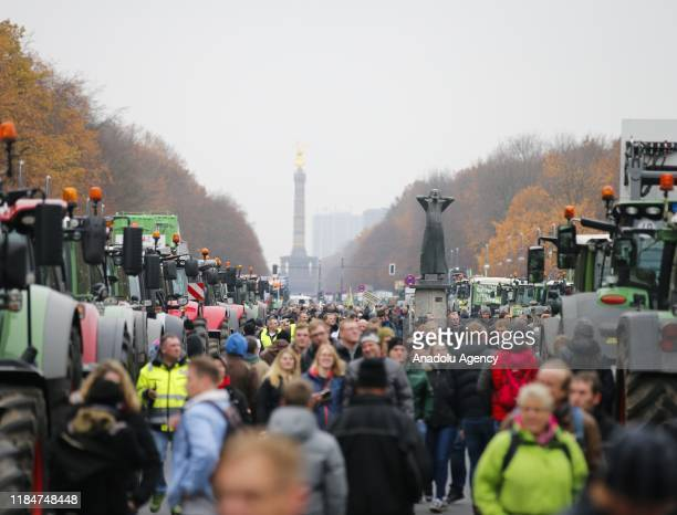 Farmers line up with their tractors along Strasse des 17 Juni Avenue towards Brandenburg Gate during a protest on November 26 2019 in Berlin Germany...
