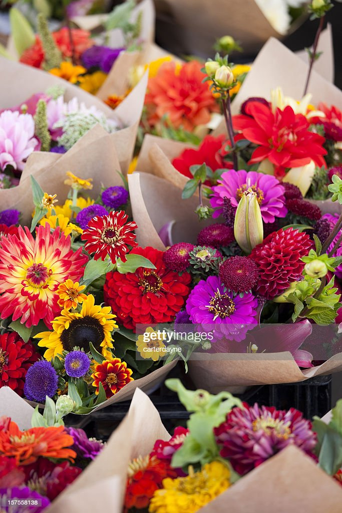Farmers Market Fresh Bouquets Of Colorful Flowers Stock Photo ...