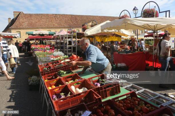 Farmers' market on Saturday, in Gourdon, in the Lot region of central France