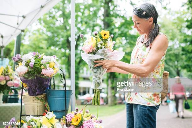 Farmers Market Shopping Mature Woman