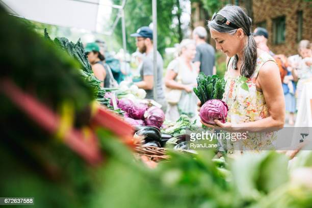 Farmers Market Shopping Mature Woman