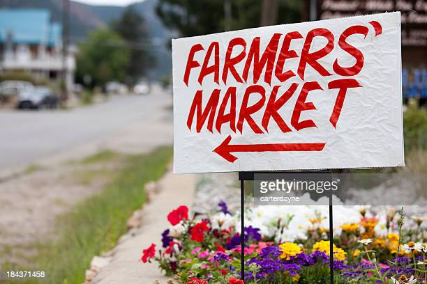 farmers market sign, colorado - agricultural fair stock pictures, royalty-free photos & images