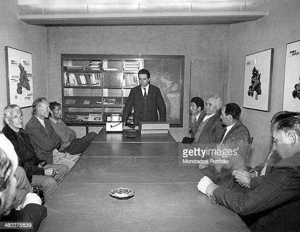 Farmers meeting in the meeting room of Shell Agricultural Research Centre Borgo a Mozzano 1960s