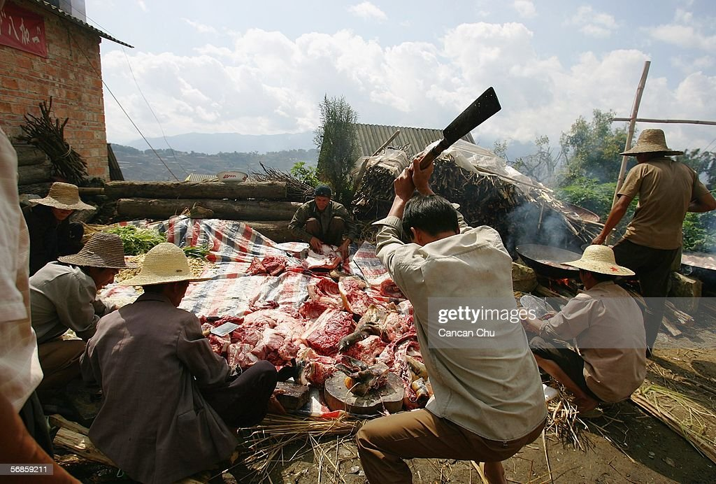 Farmers of the Yi ethnic group prepare for a long-street banquet during a ceremony at the dragon festival on February 12, 2006 in Yuanyang County, Yunnan Province, China. During the festival, the Yi people get together to worship water, the dragon and heaven in expectations of a bumper grain harvest and favorable weather for the coming year. At the banquet, each household contributes to the preparation of Yi style chicken, fish, and minced pork dishes. These are placed on a 700-meter-long chain of tables from each household in the main street.