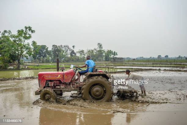 Farmers prepare fields for rice planting in Chitwan National Park Nepal on March 29 2019
