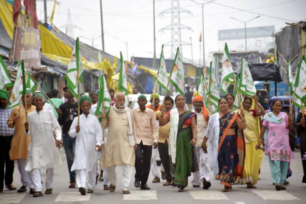IND: BKU Leader Rakesh Tikait During Protest Against Three Farm Laws At Delhi Ghazipur Border