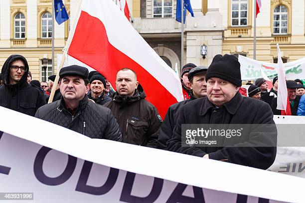 WARSAW POLAND FEBRUARY 19 Farmers protest in front of the Chancellery of the Prime Minister on February 19 2015 in Warsaw Poland Farmers are...