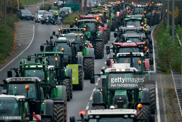 Farmers protest with their tractors against the government's environmental policies including plans to phase out glyphosate pesticides in Dortmund...