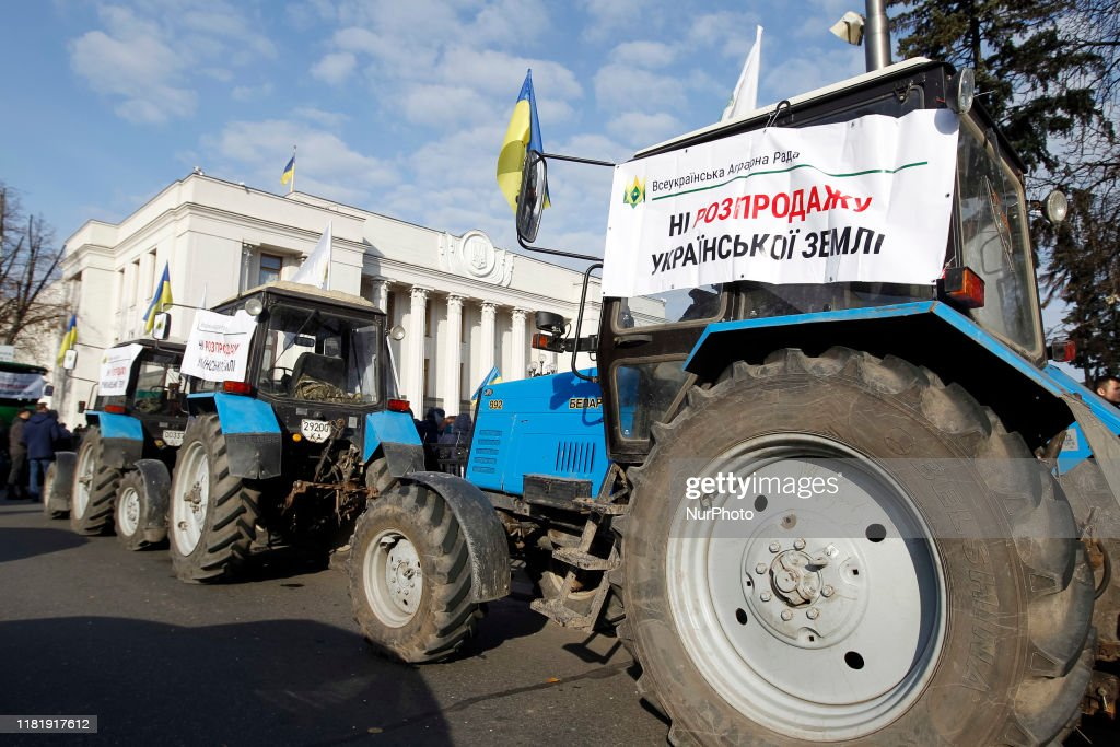 Rallies Against And In Support Of Land Sales Near Ukrainian Parliament : News Photo