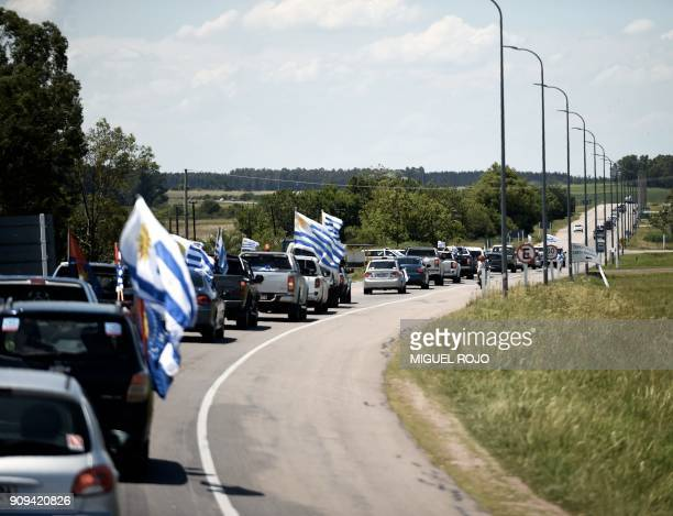 Farmers traders and haulage contractors driving along in convoy gathered to claim tax reliefs to President Tabaré Vazquez's government in Durazno...