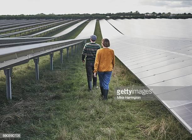 Farmers walking together through their solar farm