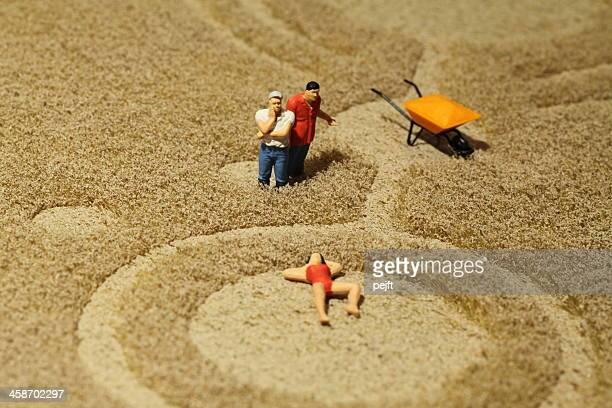 farmers watching woman sunbathing in crop circle - pejft stock pictures, royalty-free photos & images