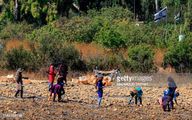 Farmers work in the plain of Marjayoun on the outskirts of the southern Lebanese village of Khiam opposite the Israeli town of Metula along the...