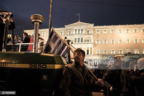 Farmersrally in front of the Parliament building at Syntagma Square during a protest against pension reform Greek farmers from across the country...