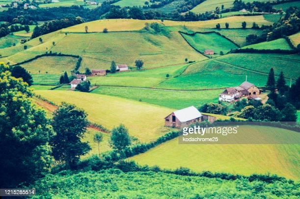 farmhouse farm agricultural landscape pyrenees-atlantique france. - pyrenees atlantique stock pictures, royalty-free photos & images