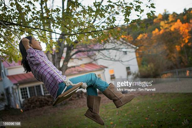 A farmhouse garden, Autumn trees lit by late sunshine. A child seated on a swing.