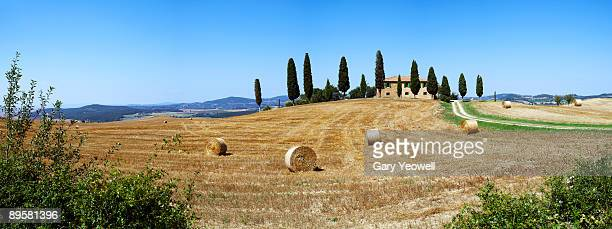farmhouse in a tuscan landscape  - yeowell stock pictures, royalty-free photos & images